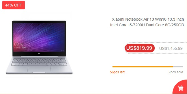 Black Friday 2017 w Banggood - Xiaomi Notebook Air 13
