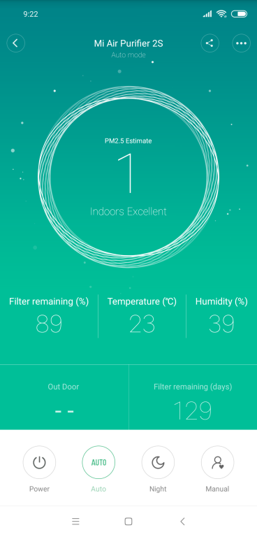 Porównanie oczyszczaczy powietrza Xiaomi Air Purifier 2 vs Xiaomi Air Purifier 2s vs Xiaomi Air Purifier Pro - screen z aplikacji MP 2,5 równe 001