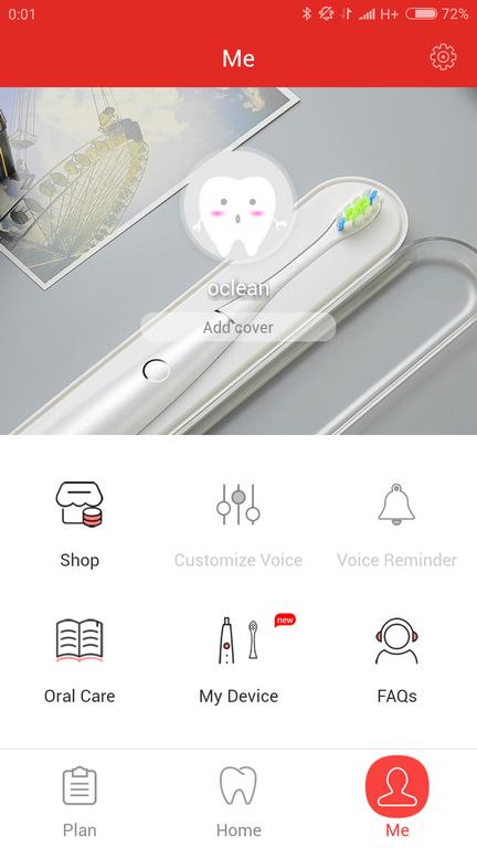 panel główny aplikacji - Recenzja Oclean SE - najnowszej szczoteczki sonicznej od Xiaomi