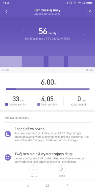 Recenzja opaski sportowej Xiaomi Mi Band 3 - screen z aplikacji Mi Fit - jakość snu