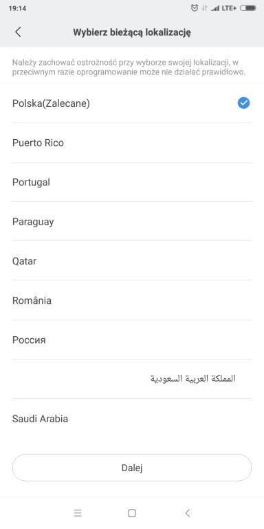 Recenzja opaski sportowej Xiaomi Mi Band 3 - screen z aplikacji Mi Fit - wybór lokalizacji - Polska
