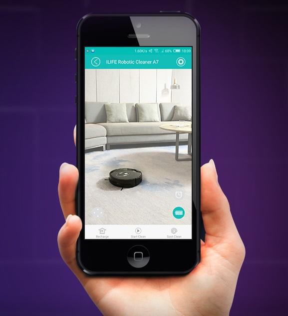 ilife A7 - robot odkurzający z obsługa przez aplikację - aplikacja iLife Robot na smartfony