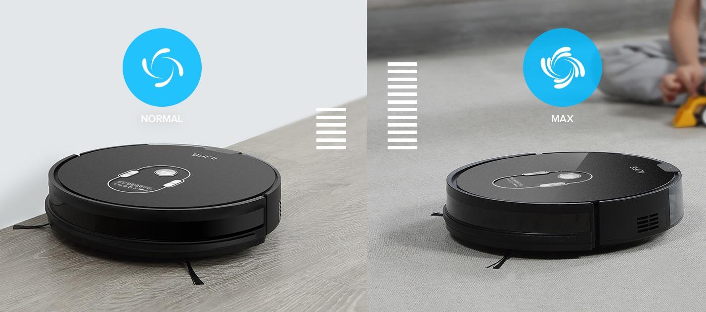 ilife A7 - robot odkurzający z obsługa przez aplikację - tryby pracy
