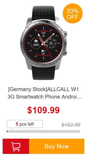 promocja europejskich magazynów geekbuying - ALLCALL W1 3G Smartwatch z europejskiego magazynu