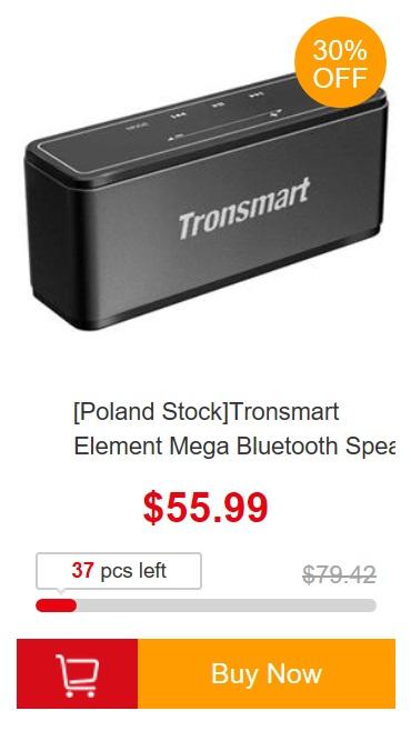 promocja europejskich magazynów geekbuying - głośnik bluetooth Tronsmart z polskiego magazynu