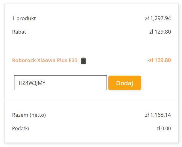 Nowy kod rabatowy na Roborock Xiaowa Plus E35 - zamówienie z geekbuying