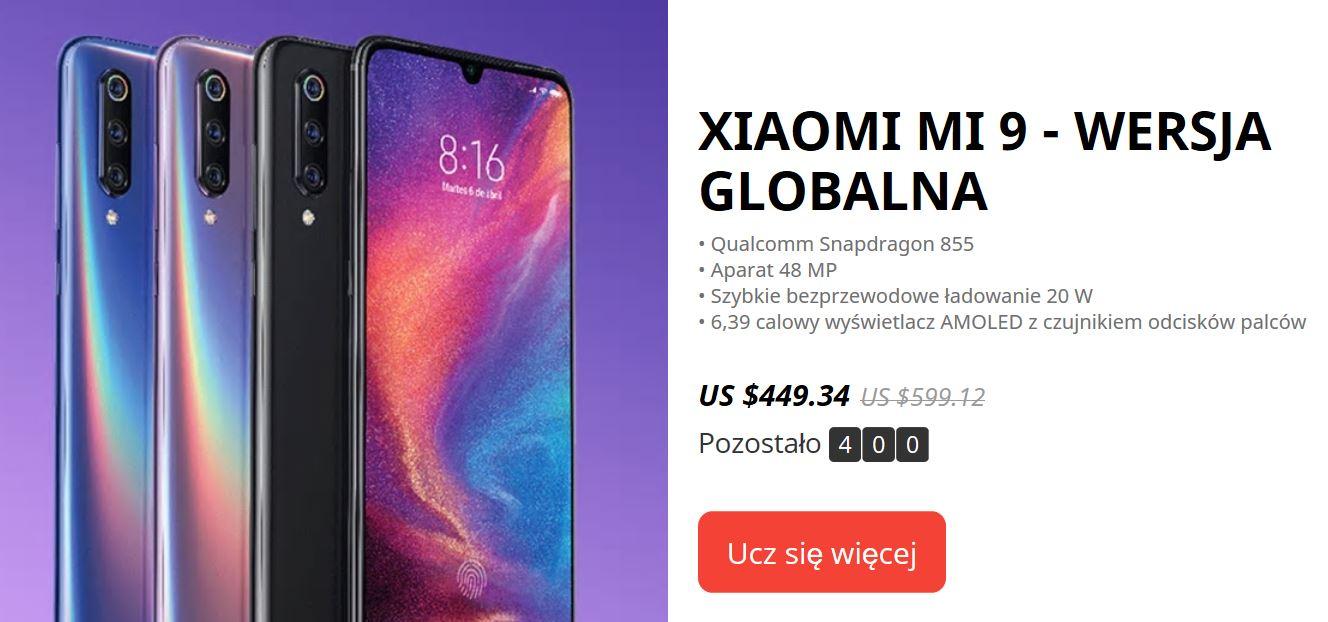 9. urodziny Aliexpress - promocja smartfonów Xiaomi Mi 9 - wersja global z Aliexpress