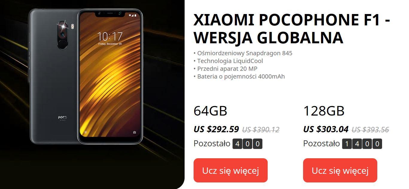 9. urodziny Aliexpress - promocja smartfonów Xiaomi Pocophone F1 - wersja global z Aliexpress