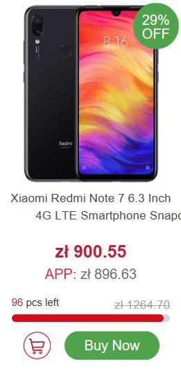 Marcowa wyprzedaż geekbuying.com - Xiaomi Redmi Note 7