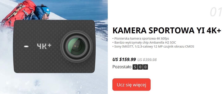 9. urodziny Aliexpress - promocja kamery sportowej YI 4K+