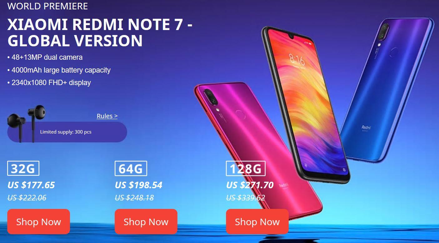 Festiwal fanów Mi - ceny Xiaomi Redmi Note 7 na Aliexpress