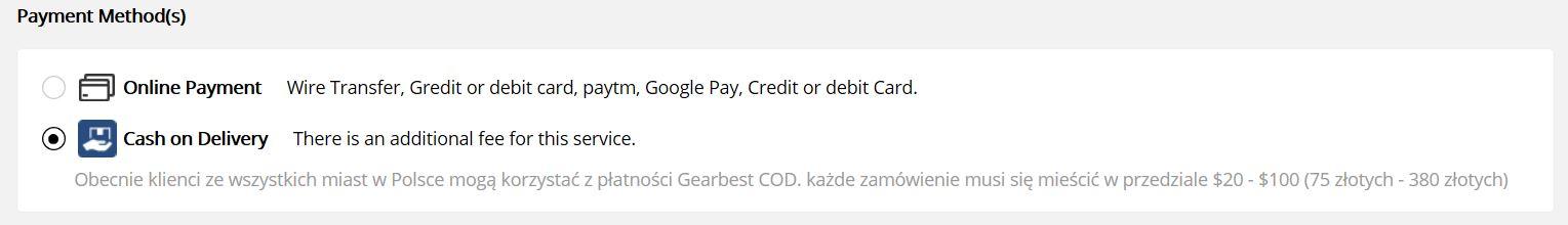 Rewolucja - Gearbest wprowadza płatność przy odbiorze - wybór metody płatności
