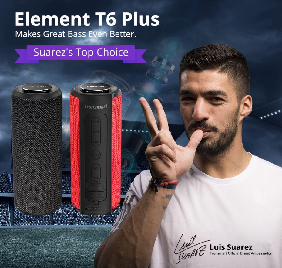 Tronsmart Element T6 Plus - głośnik bluetooth za rozsądną cenę - Luis Suarez ambasadorem marki Tronsmart