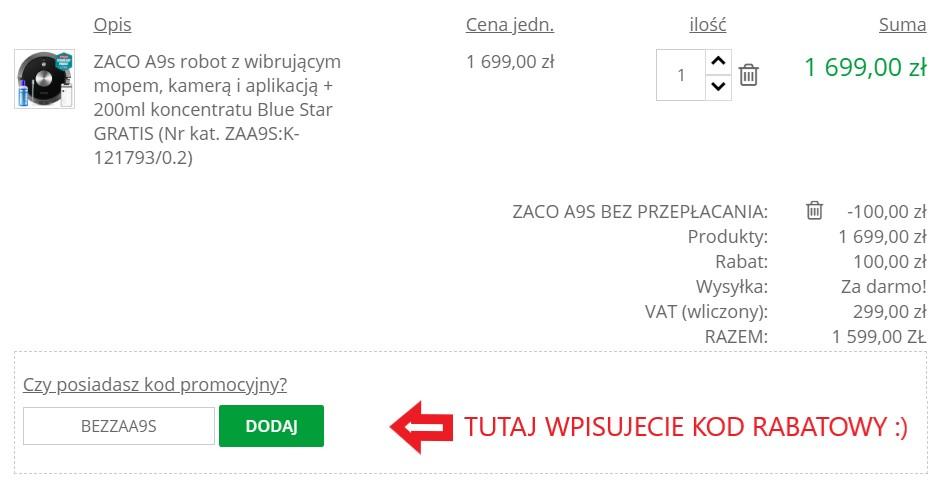kod rabatowy ZACO A9S wdomu24.pl - miejsce na kod