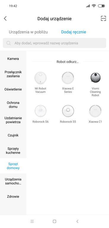 recenzja robota odkurzającego Xiaomi Viomi V2 - screen z aplikacji - wybór robota w aplikacji Mi Home