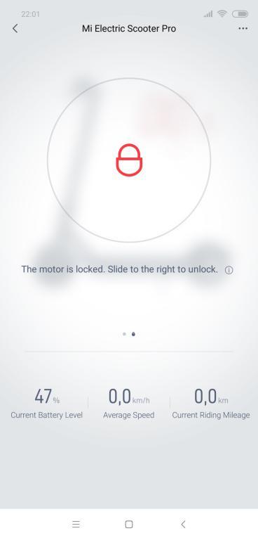 Recenzja Xiaomi Mi Scooter M365 PRO - screen z aplikacji Mi Home - zablokowanie hulajnogi elektrycznej
