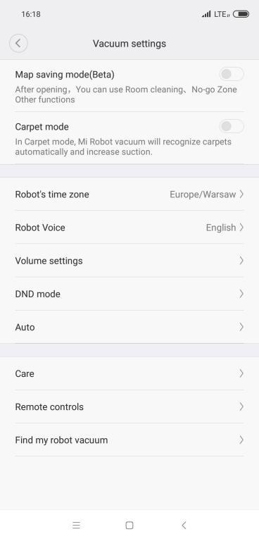 Roborock S6 - recenzja robota odkurzającego najnowszej generacji - ustawienia w aplikacji Mi Home