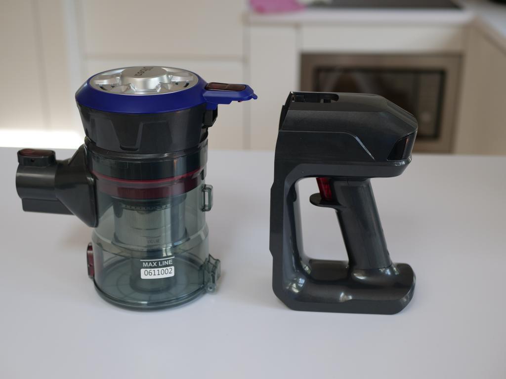 Dibea V008 PRO - recenzja taniego odkurzacza pionowego - pojemnik na kurz i silnik