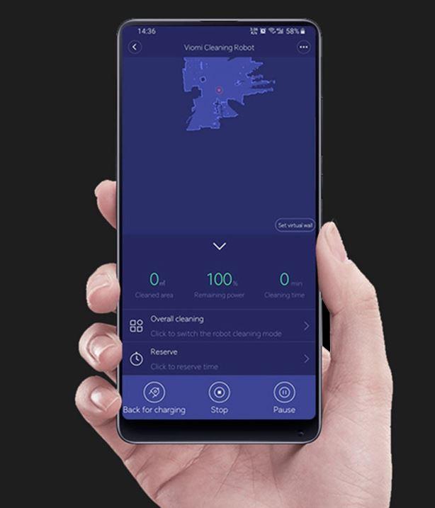 Robot odkurzający Xiaomi Viomi V2 PRO - obsługa przez aplikację Mi Home App