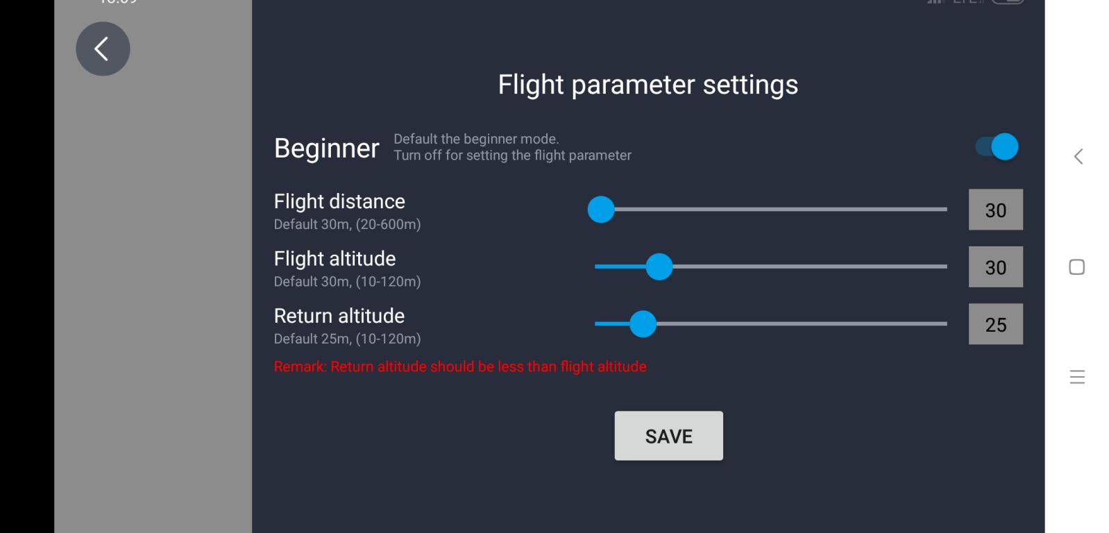 Recenzja drona SJRC F11 PRO - aplikacja na smartfony SJ GPS PRO - ustawianie limitów lotu