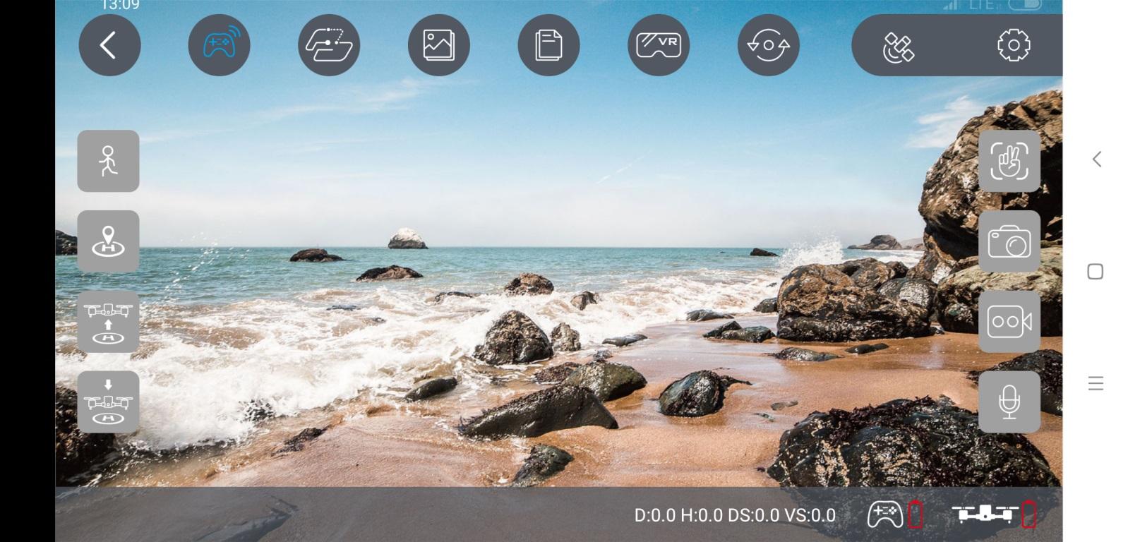 Recenzja drona SJRC F11 PRO - aplikacja na smartfony SJ GPS PRO - widok z kamery