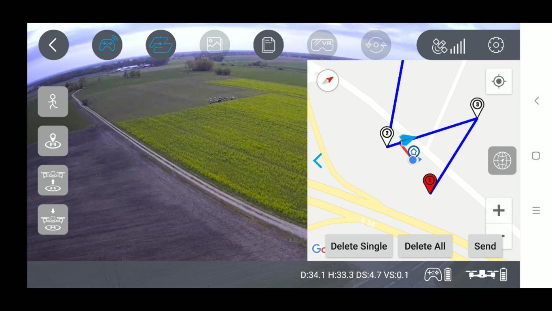 Recenzja drona SJRC F11 PRO - aplikacja na smartfony SJ GPS PRO - wyznaczanie punktów lotu