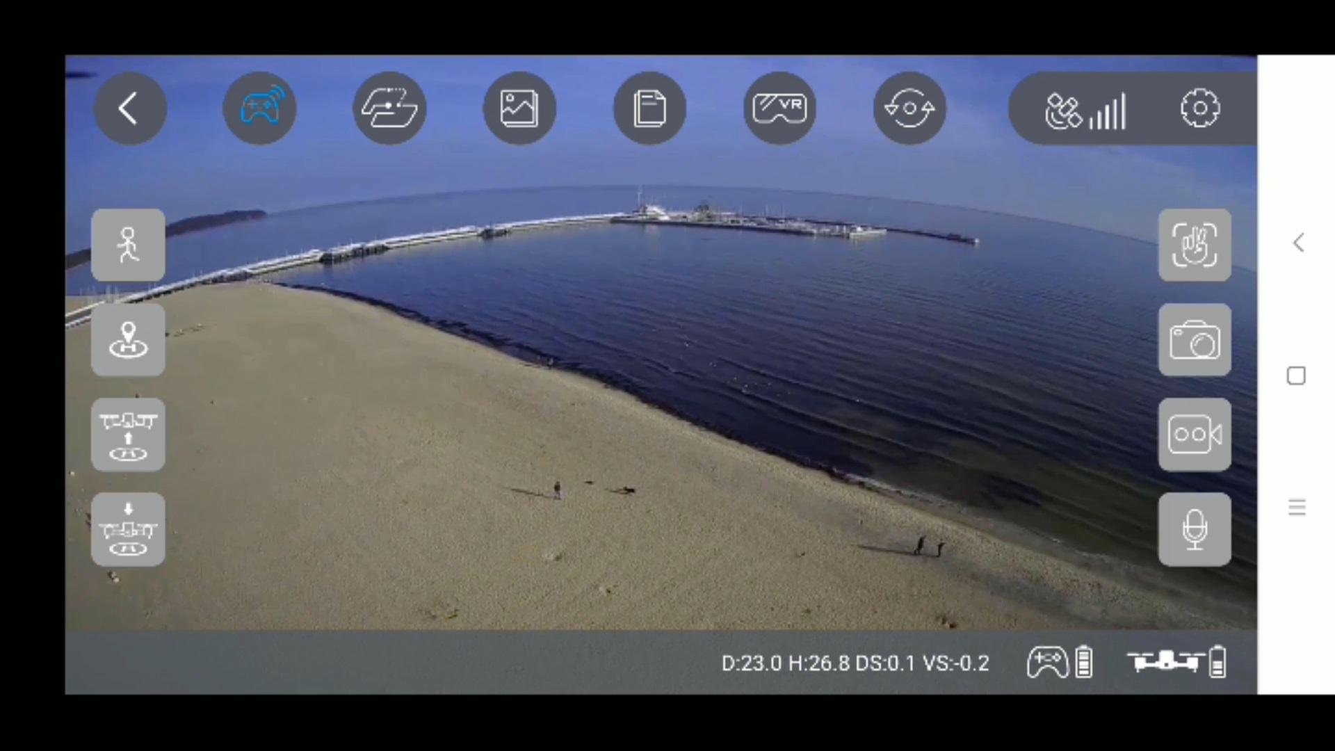 Recenzja drona SJRC F11 PRO - obracanie się - widok na telefonie