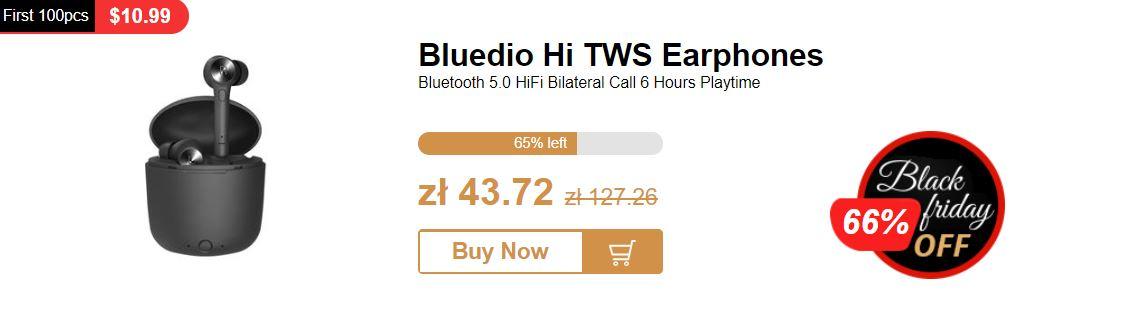 Black Friday już ruszył w chińskich sklepach - promocja Geekbuying z okazji Black Friday - słuchawki Bluetooth Bluedio Hi TWS