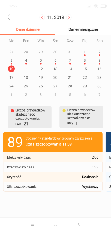 Recenzja Oclean X - szczoteczki sonicznej z Aliexpress - kalendarz z raportem dotyczącym szczotkowania
