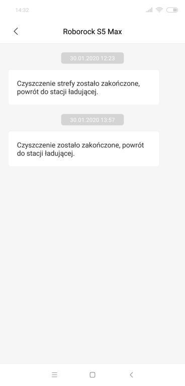 Roborock S5 Max - recenzja - komunikaty w aplikacji