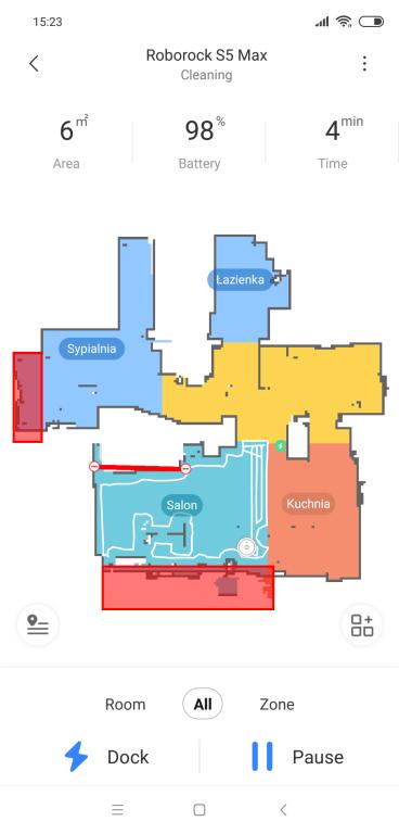 Roborock S5 Max - recenzja - odkurzanie wybranego pokoju na mapie