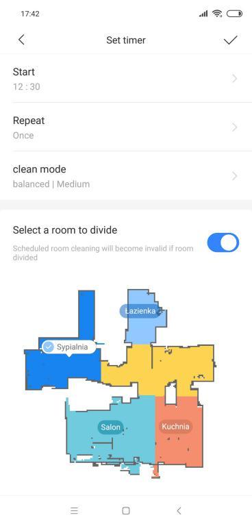 Roborock S5 Max - recenzja - ustawienie timera na pokoje