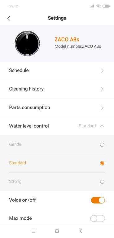 Zaco A8S - recenzja robota sprzątającego - regulacja poziomu opuszczanej wody w aplikacji