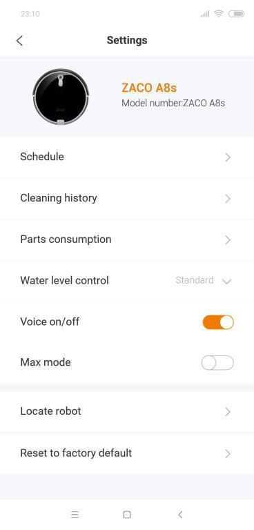 Zaco A8S - recenzja robota sprzątającego - ustawienia w aplikacji Zaco Robot