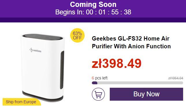 Mega wyprzedaż marcowa geekbuying - przeceny do - 70% - oczyszczacz powietrza Geekbes GL-FS32