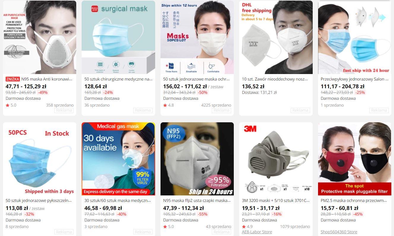 Wyprzedaż artykułów ochorny zdrowia na Aliexpress - epidemia koronawirusa z Chin - maseczki antywirusowe z Aliexpress