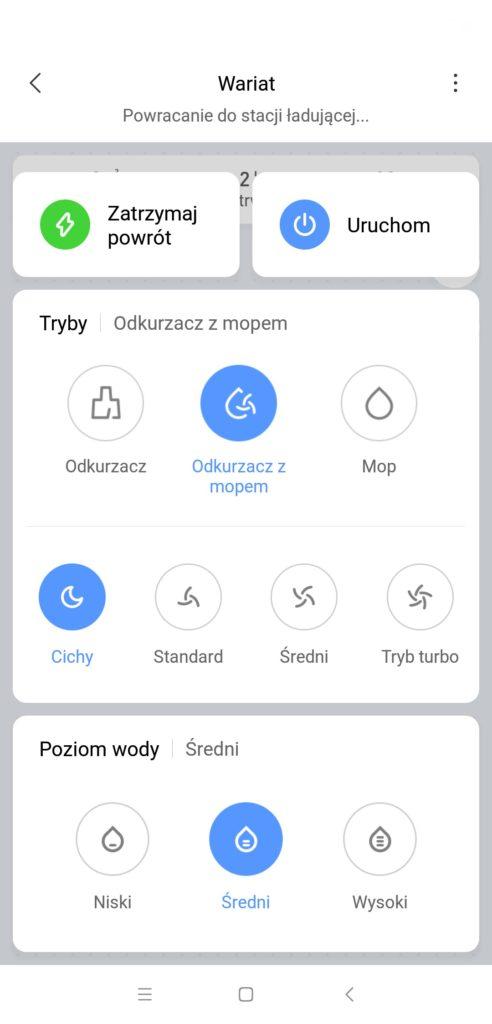 Xiaomi Mi Robot P (STYTJ02YM) - recenzja odkurzająco-mopującego robota od Xiaomi - regulacja mopa w aplikacji