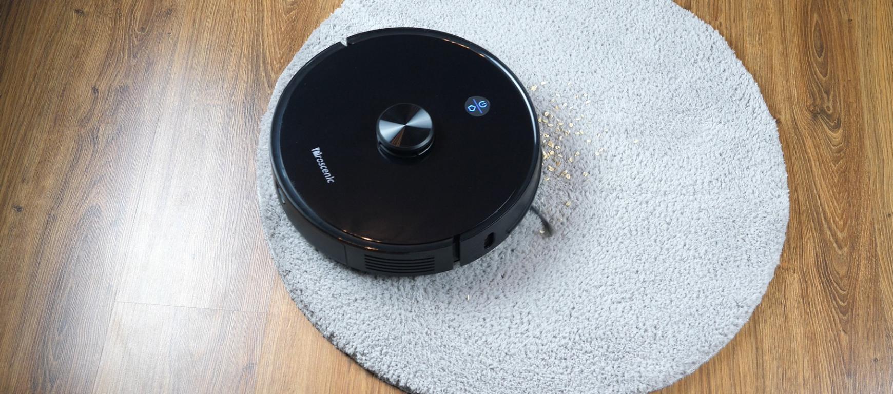 Proscenic M7 PRO - robot sprzątający ze stacją do automatycznego opróżniania pojemnika na kurz - odkurzanie na dywanie