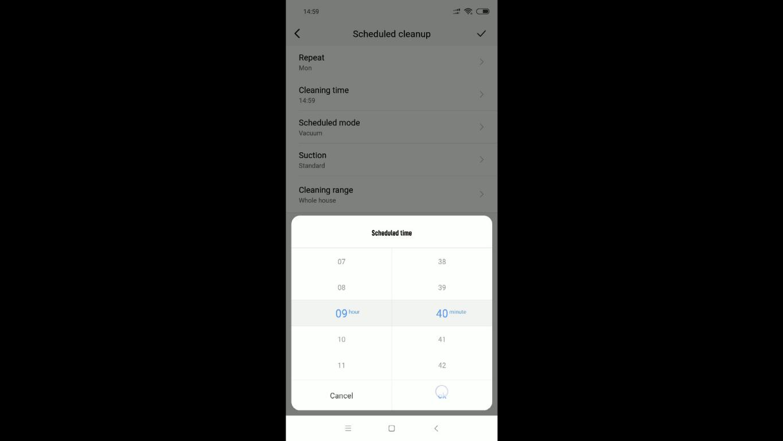 Xiaomi Viomi V3 - recenzja robota odkurzającego z mopowaniem - ustawianie harmonogramu pracy