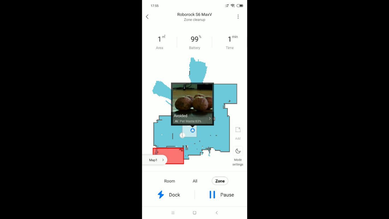 Roborock S6 MaxV - recenzja robota sprzątającego - omijanie psich odchodów - widok w aplikacji Roborock