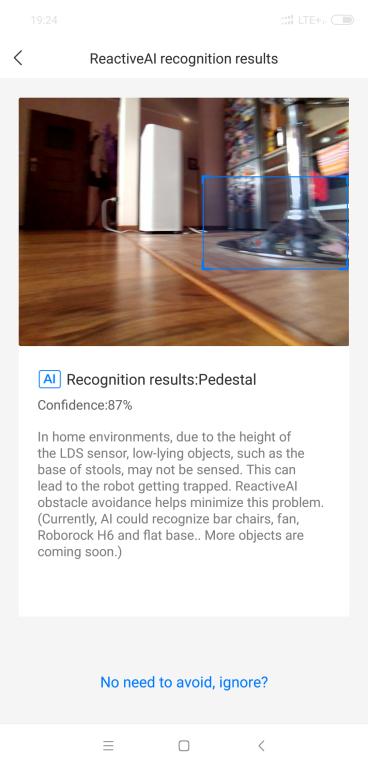 Roborock S6 maxV - recenzja robota sprzątającego z inteligentnym rozpoznawaniem przeszkód - zdjęcie z kamery w aplikacji