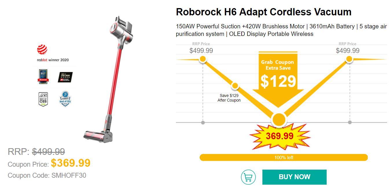 Wyprzedaż urządzeń Smart Home w geekbuying.com - Roborock H6 Adapt