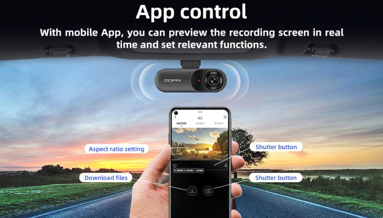 Kamera samochodowa DDPai Mola N3 - sterowanie przez aplikację