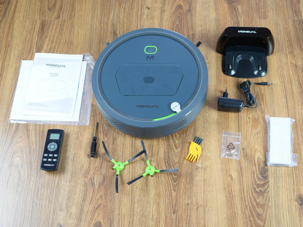 Moneual MBOT 500 - recenzja taniego robota odkurzającego z mopowaniem - zestaw