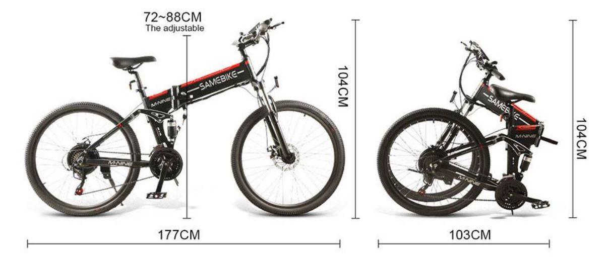 Rower elektryczny Samebike LO26 - składanie