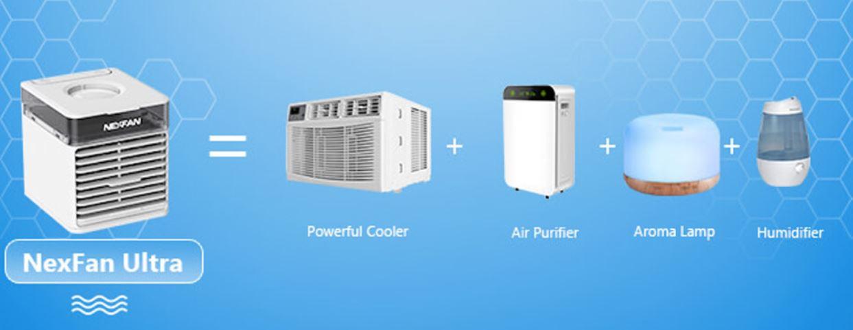 paczka kodów rabatowych na gadżety od geekbuying.pl - wentylator NexFan z funkcją chłodzenia, nawilżania i oczyszczania powietrza