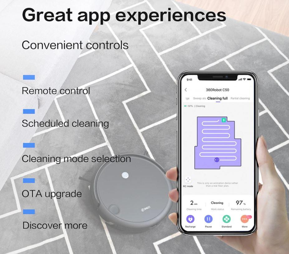 robot sprzątający 360 C50 - aplikacja na smartfon