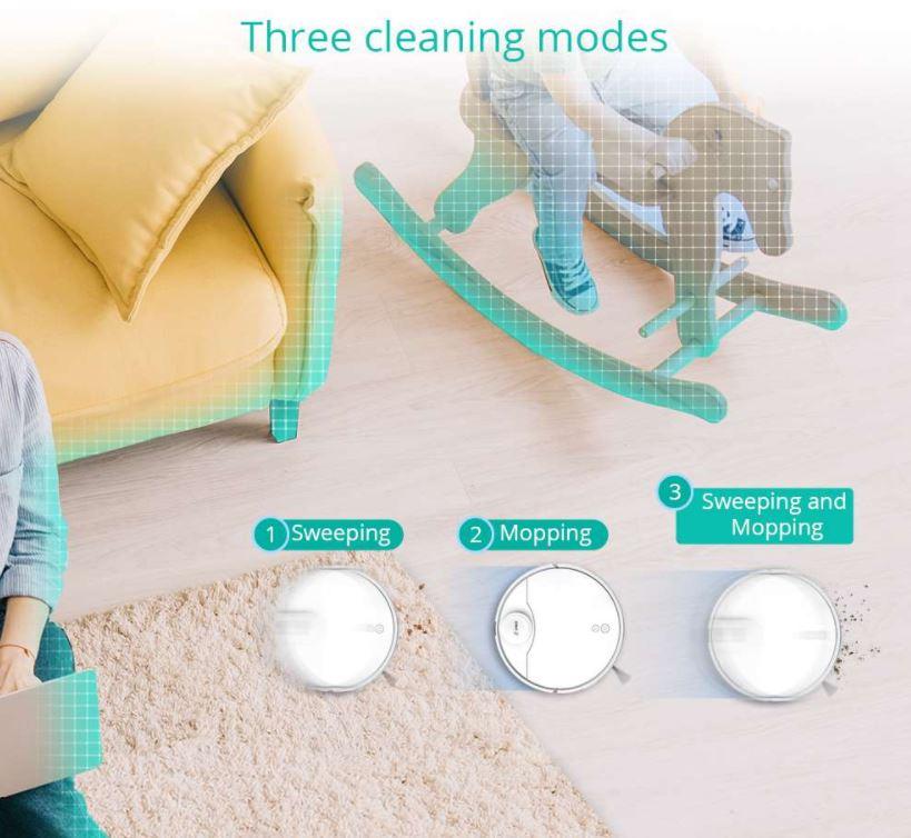 robot sprzątający 360 S9 - odkurzanie, mopowanie i jednoczesne odkurzanie i mopowanie