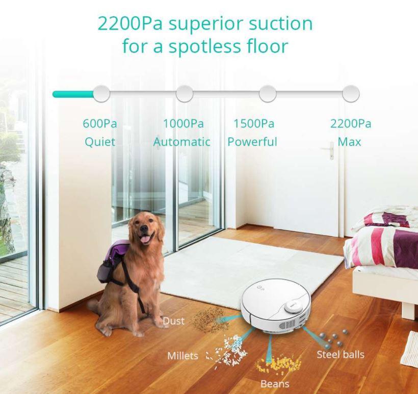 robot sprzątający 360 S9 - siła ssąca do 2200 Pa