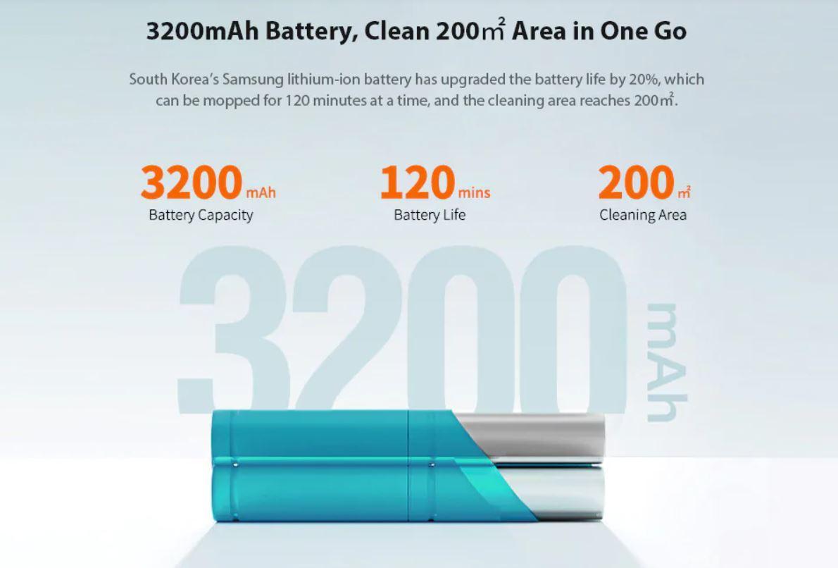 Premiera robota sprzątającego Viomi SE - pojemność baterii
